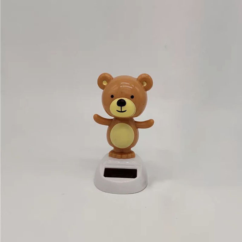 1Pcs Simplicity Series  Cartoon Cute Solar Energy Swing Little Bear Toys Funny Creative Balcony Crafts Automobile Decoration