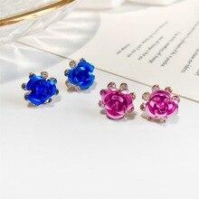 Crystal Flower Stud Earrings Zircon Rose Rose Earring Jewelry Wholesale Stud Earrings Earrings for Women Jewelry