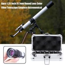 6 adet hızlı bırakma iplik açık yuvarlak Mini Lens renk filtresi işık azaltma 1.25 inç 31.7mm teleskop mercek