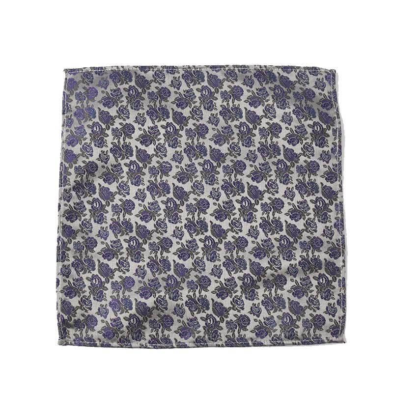 Men Pocket Square Flower Polyester Jacquard Suit Shirt Small Square Towel