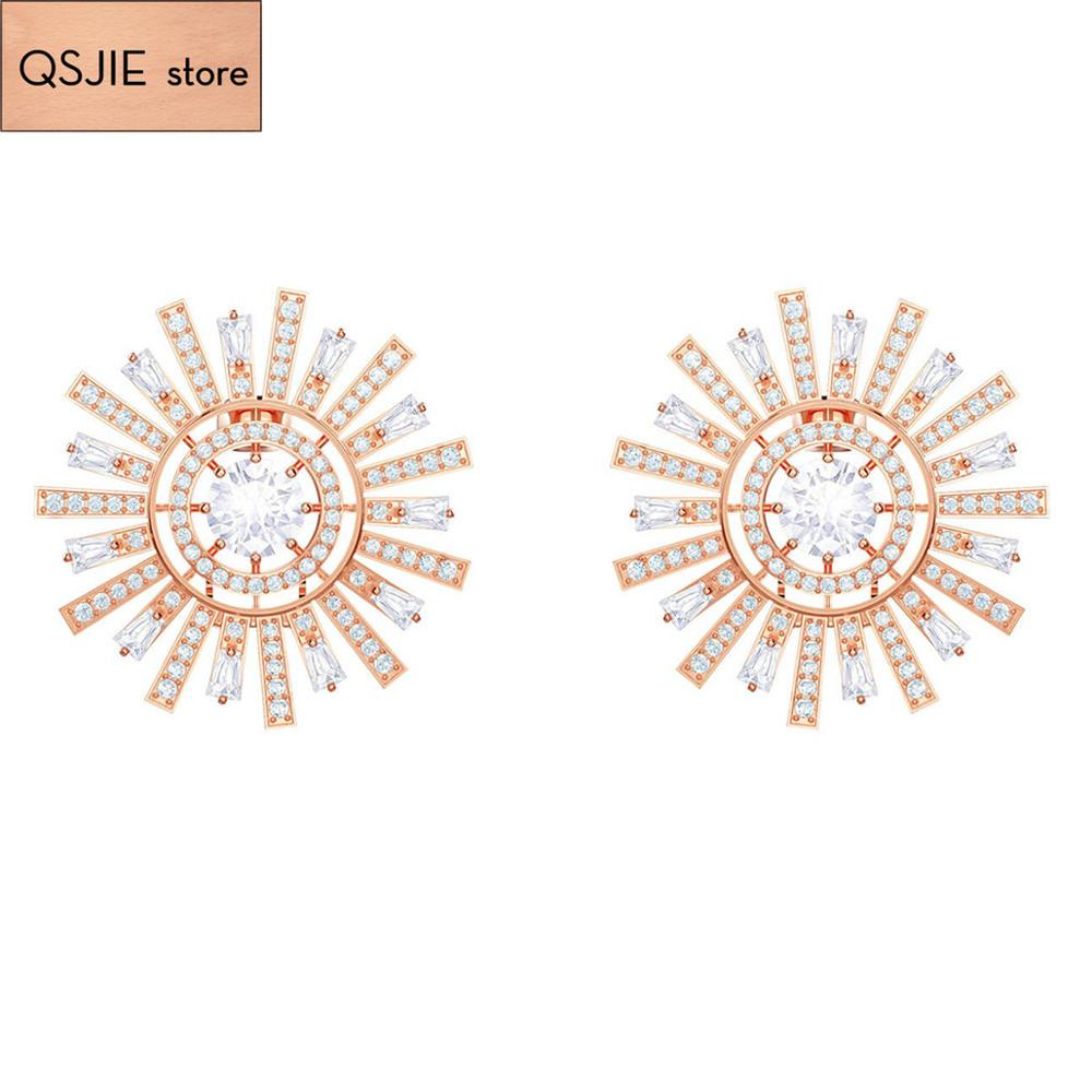 QSJIE High quality SWA.Fashion, fresh and shiny crystal, gifts, jewelry, solar cocktail Earrings Glamorous fashion jewelry