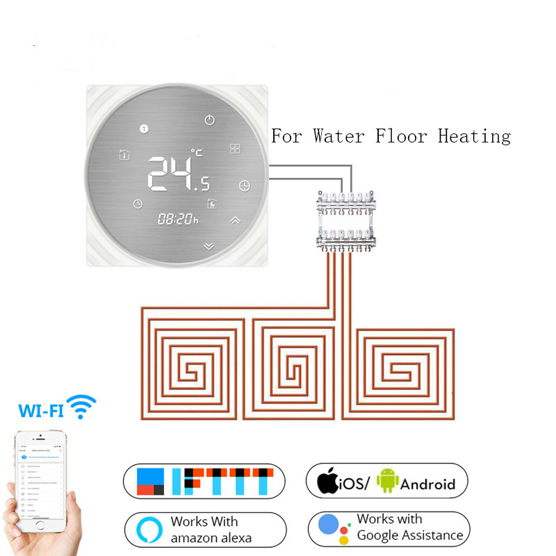 Wifi Smart Thermostat Water Floor Heating Metal Brushed Panel Smart Life/Tuya APP Remote Control Works With Alexa Google Home