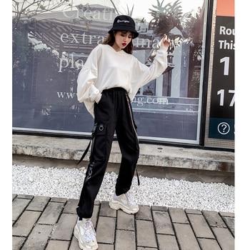 2020 New Women's Cargo Pants Harajuku Chain Pockets Ankle Trousers High Waist Chain Hip-hop Safari Style Harem Pants