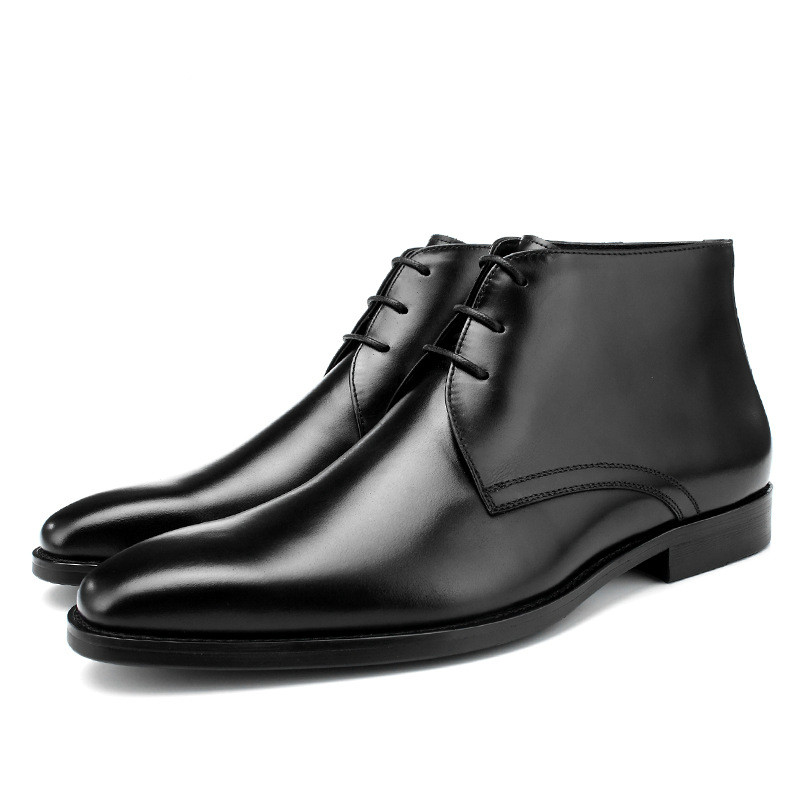 Men's Lace Up Plus Velvet Warm Men's Leather Boots Fashion New High-top Boots Men's Short Boots