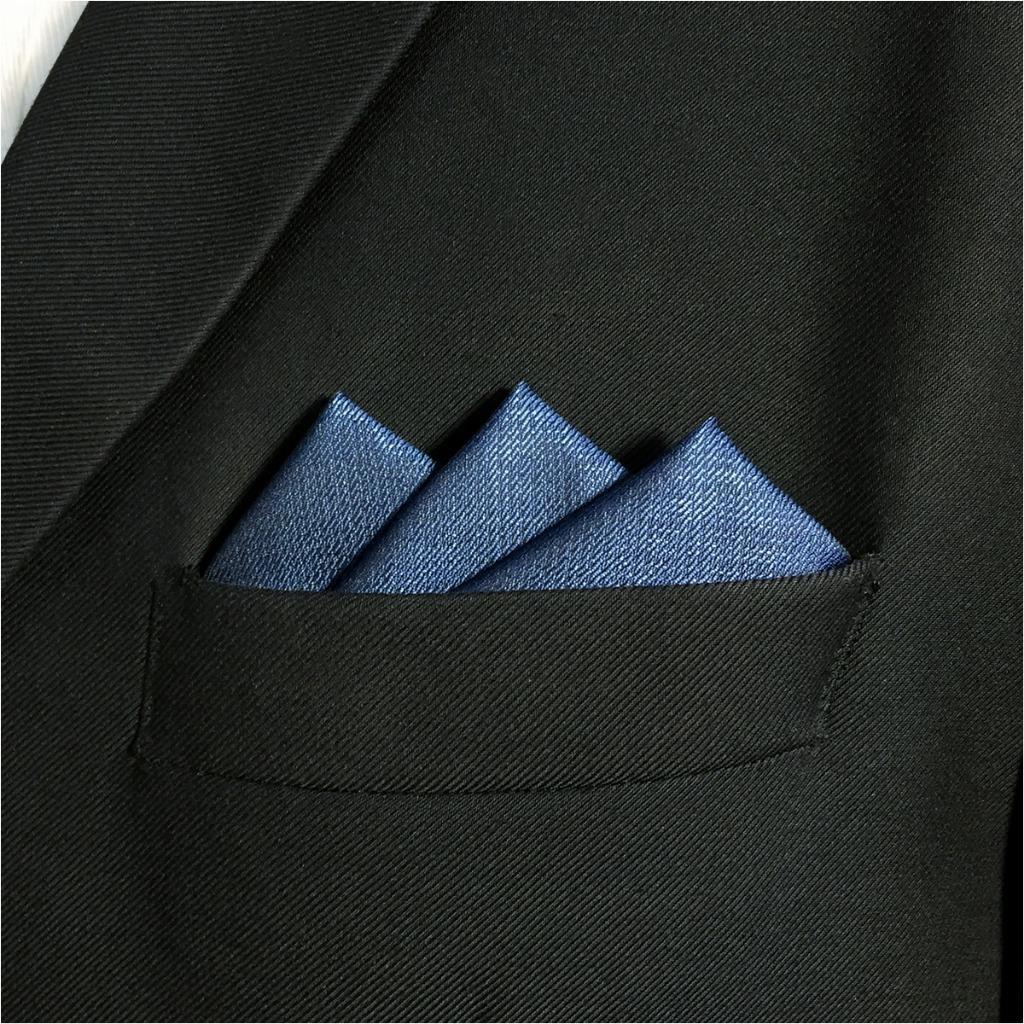 DH20 Navy Solid Mens Pocket Square Silk Dress Classic Handkerchief Wedding Fashion Hanky 12.6