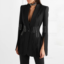 Модные черные женские блейзеры для подиума дизайнерские осенние зубчатые ошейник-веревка пирсинг костюм Блейзер уличная Раздвоенная вспышка рукав блейзер