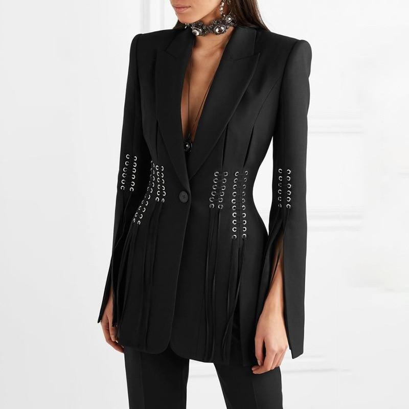 Fashion Black Women Blazers Runway Designer Autumn Notched Collar Rope Piercing Suit Blazer Streetwear Split Flare Sleeve Blazer
