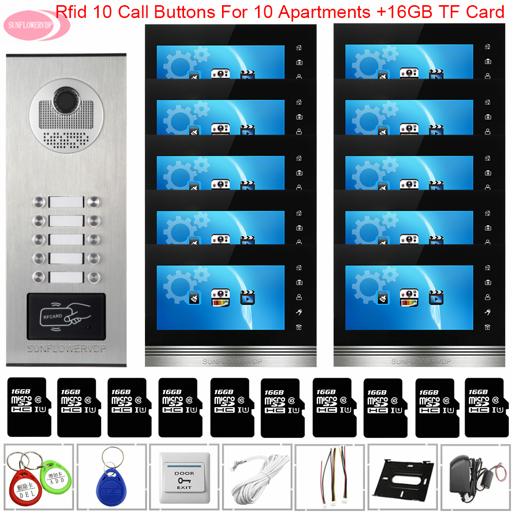 Video Call Intercoms For A Private House 7inchs Video Intercom With Recording +16 GB TF Card Access Control Wired Video Doorbell