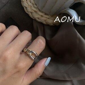 AOMU 2020 nowy nieregularne złoto srebro kolor Metal Twisted Hollow wielowarstwowa linia minimalistyczny pierścień dla kobiet Trendy biżuteria prezenty