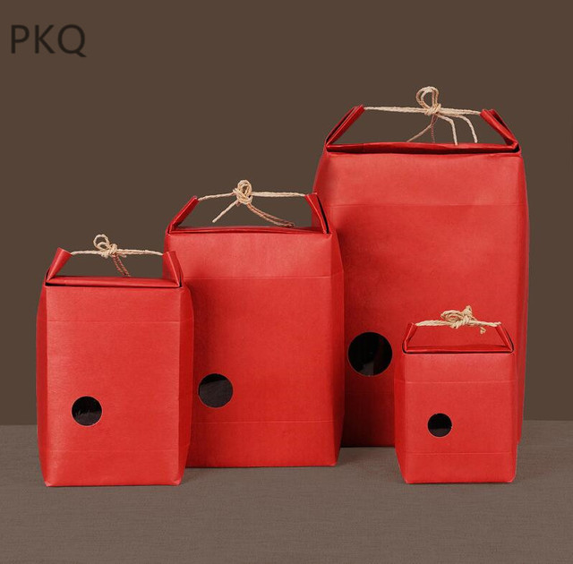 20pcs Kraft Paper Packaging Bag With Handle Tea Food Package Paper Box Event Party Favor Gift Storage Bag