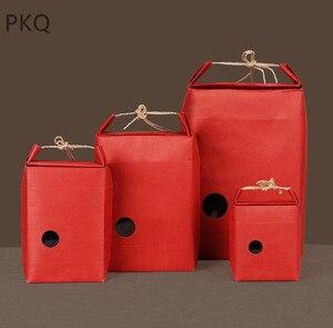 Image 1 - 20pcs Kraftpapier Verpakking Met Handvat Thee Voedsel Pakket Papier Doos Event Partij Gunst Gift Opbergtas