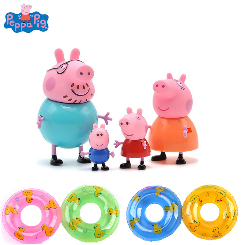 8pcs Peppa Pig Toy Set Children's Water Toys Anime Characters Peggy George Pig Mom And Dad Action Figure Model Children's Gifts