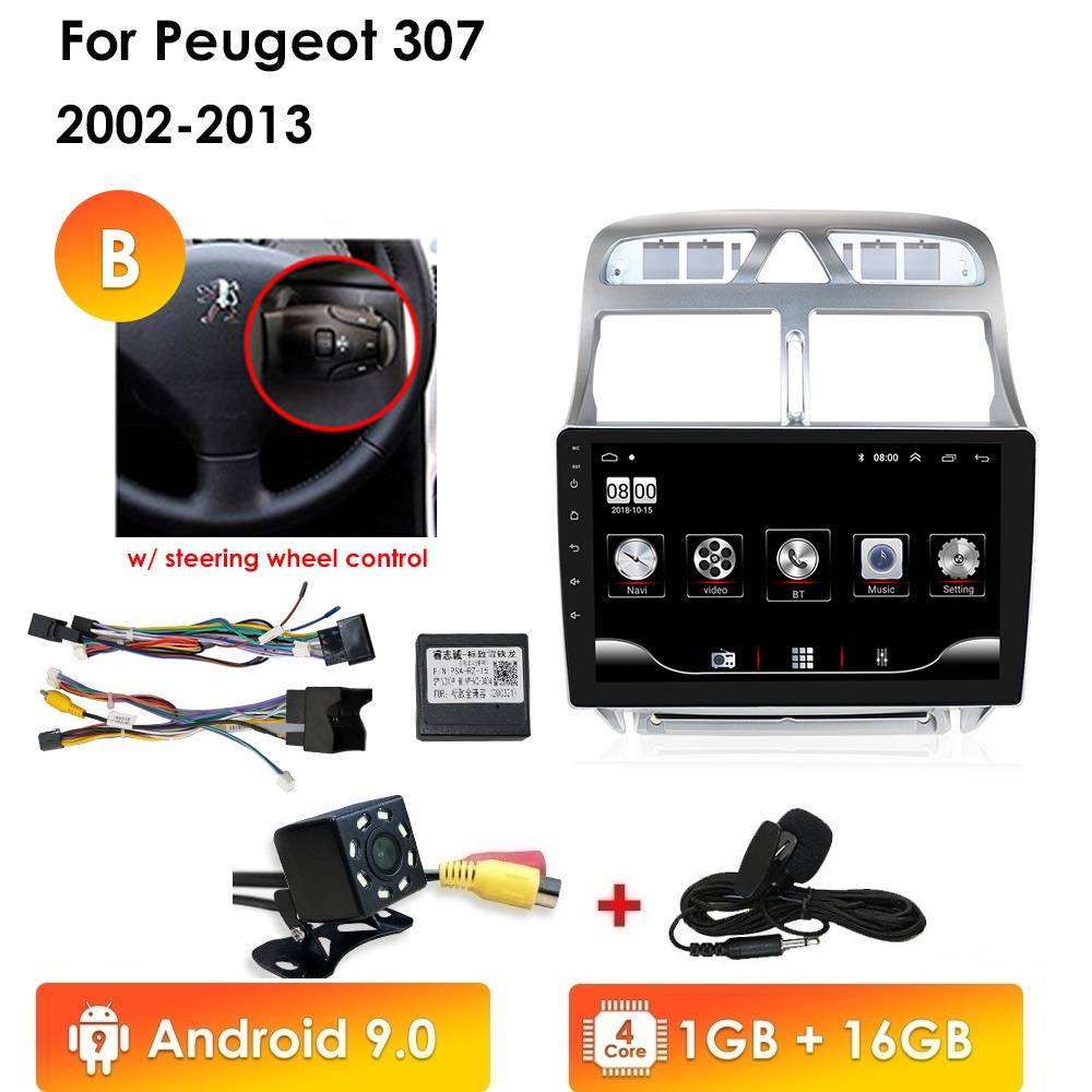 Autoradio 2din Android reprodutor multimídia carro para Peugeot 307 307CC 10 307SW 2002-2013 car radio navegação GPS WiFi bluetooth 4G