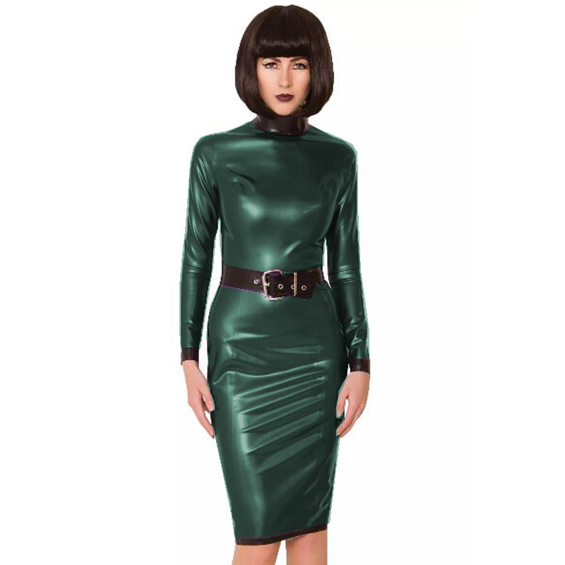 24 Colors Back Zipper Long Sleeve Knee Length Dress Lady Slim Vestido Fashion Patchwork Color Midi Dress Sexy Stage PVC Clubwear 29