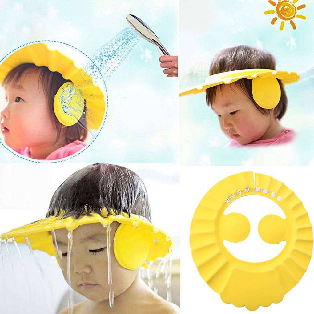 Baby Shower Caps Shampoo Cap Wash Hair Kid Bath Visor Hats Adjustable Shield Waterproof Ear Protection Eye Children Hats Infant