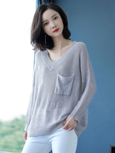 V-collar Semi-transparent Pure Color women sweater Sexy Big pocket loose wear resistance  no easy pilling