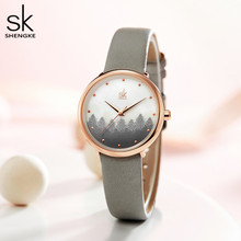 Elegant Ladies Watch Rosegold Small watch Grey Leather Strap