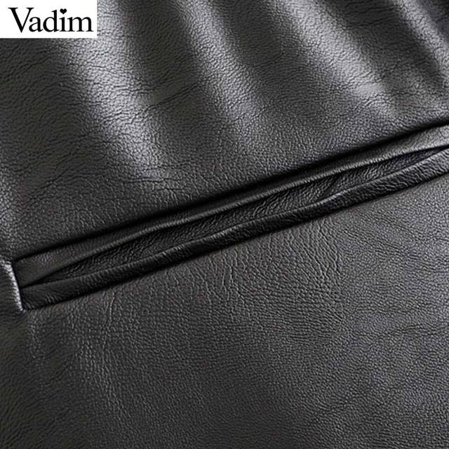 Vadim women chic PU leather pants solid elastic waist drawstring tie pockets female basic elegant trousers KB131 5