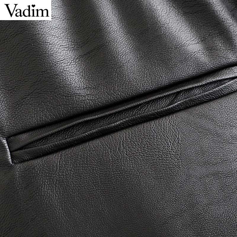 Vadim women chic PU leather pants solid elastic waist drawstring tie pockets female basic elegant trousers KB131 12