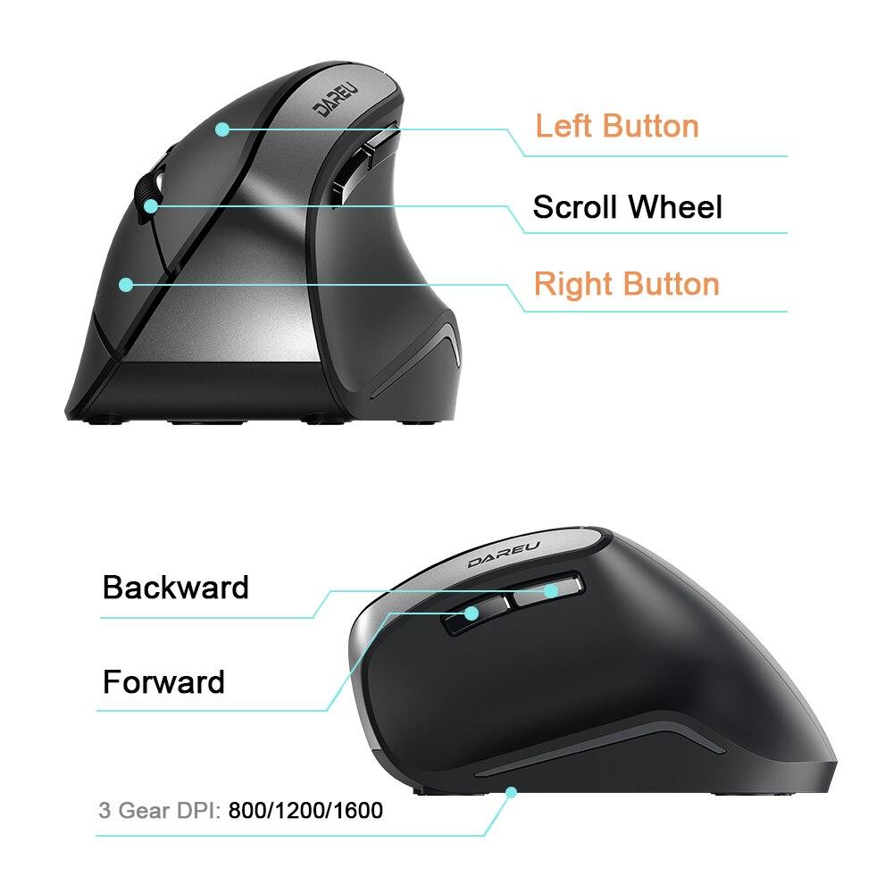 Image 5 - DAREU LM108 Bluetooth 4,0 + 2,4 ГГц, Двухрежимная беспроводная мышь, 6 кнопок, эргономичный тип кожи, вертикальная мышь для ПК, ноутбука, компьютераМыши   -