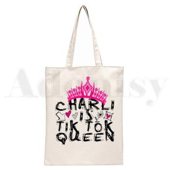 Ice Coffee Splatter Charli DAmelio Ulzzang Print Reusable Shopping Women Canvas Tote Bags Eco Shopper Shoulder Bags 9