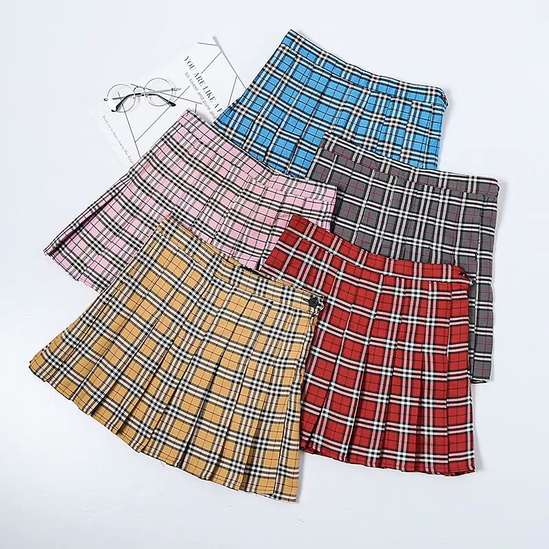 Europe And America Retro England College Uniform Fresh Versatile-Style Plaid Pleated Skirt A- Line Half-length Short Skirt INS