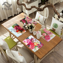 TTLIFE Table Mat Printed Fabric Blanching Heat Insulation Cup Dish Bowl Tableware Placemats Kitchen Coaster Durable