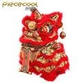 Piececool dança leão vermelho e ouro modelo kits 3d corte a laser quebra-cabeça diy modelo de metal crianças quebra-cabeças educativos brinquedos