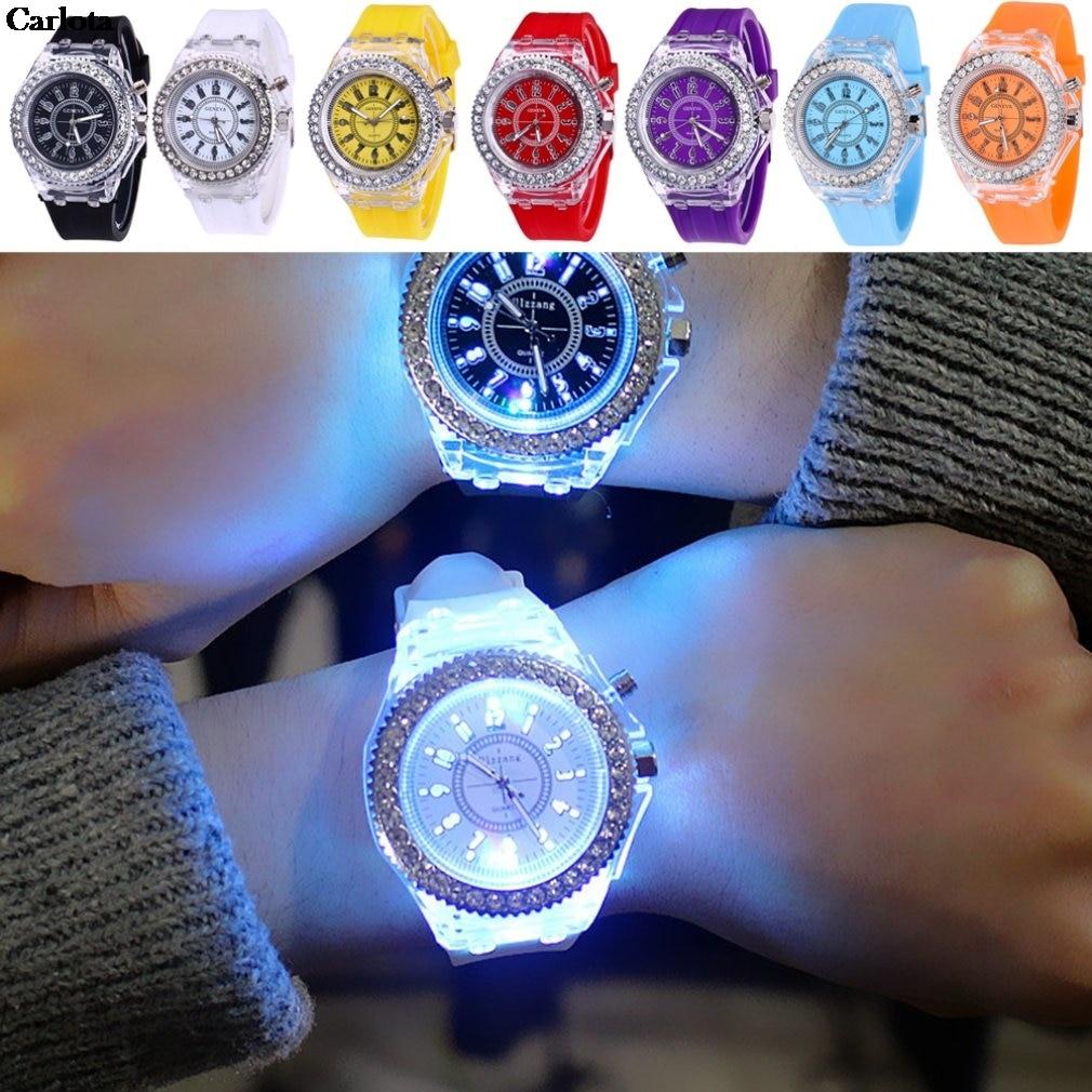 8 Types Colorful Rhinestone LED Sport Watches Luminous Glowing Women Quartz Watch Ladies Silicone Wristwatches