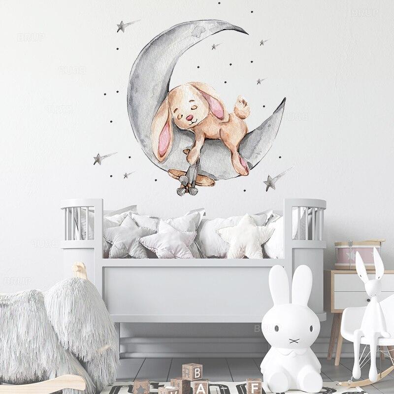 Брюки для малышей с рисунками зайчика, медведя, спать на луна и звезды, настенные наклейки для детской комнаты Детская комната украшения нас...