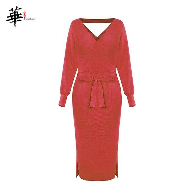 Женское трикотажное платье зимние пикантные туфли на каждый день с длинным рукавом; Модные вечерние плюс Размеры в винтажном стиле; Элегантный свитер платья для женщин 6