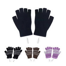 Heated-Gloves Indoor Half-Finger Cycling Outdoor-Bike Electric Winter USB with Rechargeable