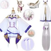Re Zero Hajimeru Isekai Seikatsu Emilia, парики, костюмы для косплея, женское платье с головным убором для Хэллоуина, вечерние