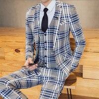 High quality men's suit set of 3 sets, striped plaid slim suit jacket, fashion business professional banquet wedding dress suit