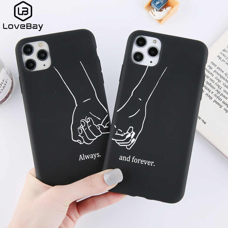 Lovebay Couples Drôles Amour Coeur Pour iPhone 11 Pro Max X XS XR Xs Max Soft TPU Simple Pour iPhone 6 6s 7 8 Plus