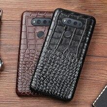 מקרה טלפון עבור LG G6 G7 V10 V20 V30 V40 V50 ThinQ G3 G4 G5 G6 G7 G8s ThinQ K40 k50 יוקרה Crcodile מרקם עור פרה חזרה כיסוי