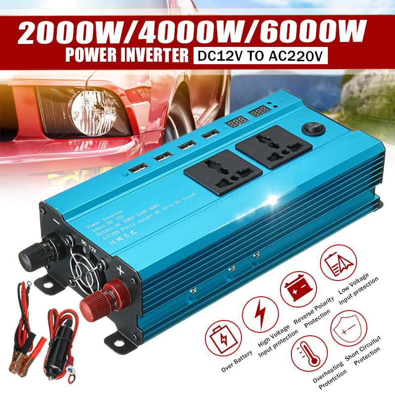 Solar Inverter DC 12V zu AC 220V 2000W 4000W 6000W Inverter Spannung Transformator Konverter 4 USB LED Display Auto Inverter + Buchse