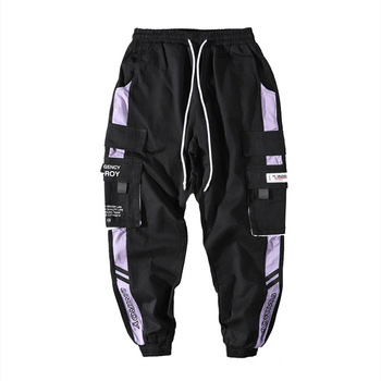 Hip Hop Ribbons Cargo Pants Men Joggers Pants Mens Streetwear Military Pants 2020 Fashion Male Elastic Waist Pant Cotton Black 1