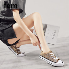 Fashion Alphabet Canvas Shoes For Women Round Toe Causal Fla