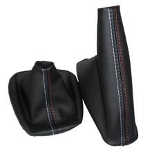 Mudança de engrenagem do carro vara à prova de poeira capa de freio de mão alça de couro falso capa para bmw e30 e36 e34 e46 z3 modelos manuais