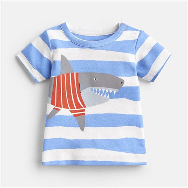 Children Kids Boys Cartoon Shark Print Shirt Tee Tops Short Sleeve O-Neck Blouse