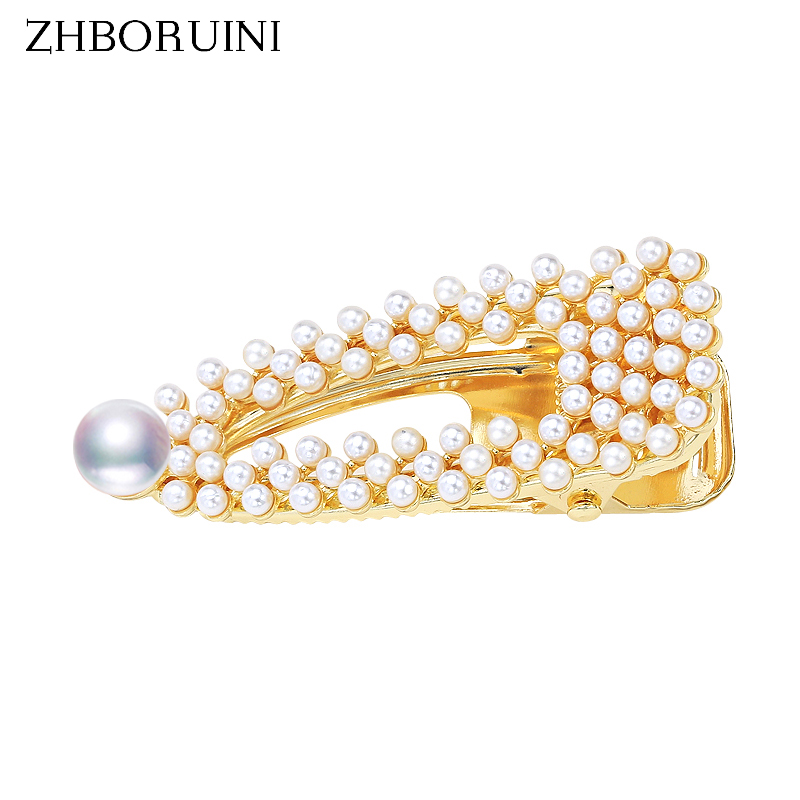 ZHBORUINI 2019 Pearl Beads Hair Clip For Woman Freshwater Pearl Jewelry Barrette Handmade Hair Pin Accessories Gift Wholesale