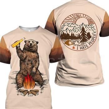 Tessffel Animal Cartoon Bear Hunting I hate people Love Camping Funny NewFashion 3DPrint Summer Casual T-Shirts Short sleeve S-2 2