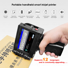 Smart Portable Handheld Inkjet Printer Quick drying 600DPI Label Print Machine, Touch Screen for Date LOGO Barcode QR Code Print