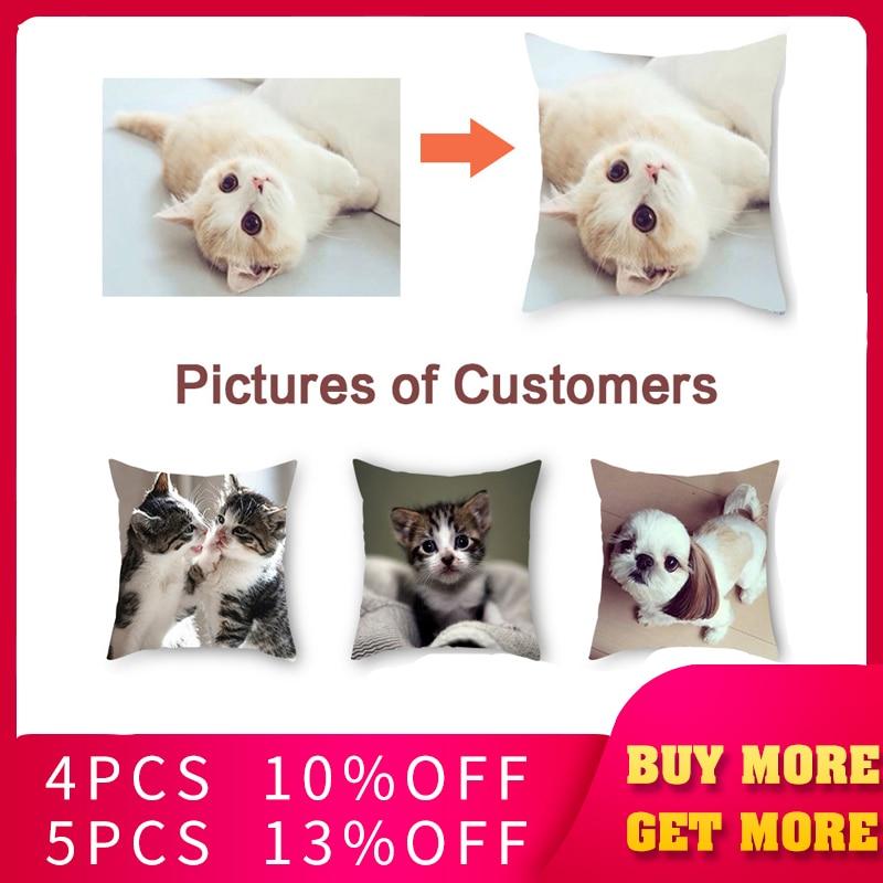 Fuwatacchi Animal Child Personal Customize Cushion Cover Customization Throw Pillow Cover Linen Pillowcase Print Photo 45cm*45cm