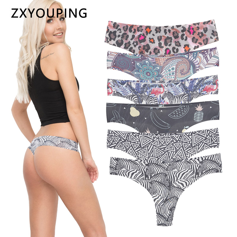 Print Seamless Thongs And G String Women Underwear Elasticity Sexy Panties Female Tanga Lingerie Low-Rise Briefs Invisible New