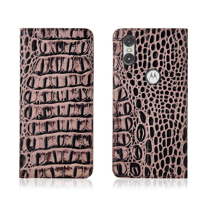 Crocodile Pattern Genuine Leather Flip Phone Case Card Slot Holder For Motorola Moto P30 Play/Motorola Moto P30 Note Phone Bag  - buy with discount