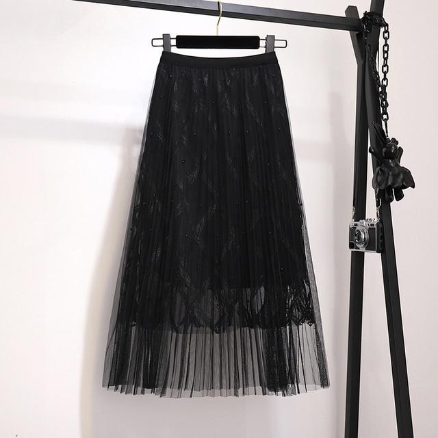 Zoki Fashion Mesh Women Long Skirt Elegant Spring Summer A Line Pearl High Waist Korean Female Party Tulle Midi Pleated Skirt 2