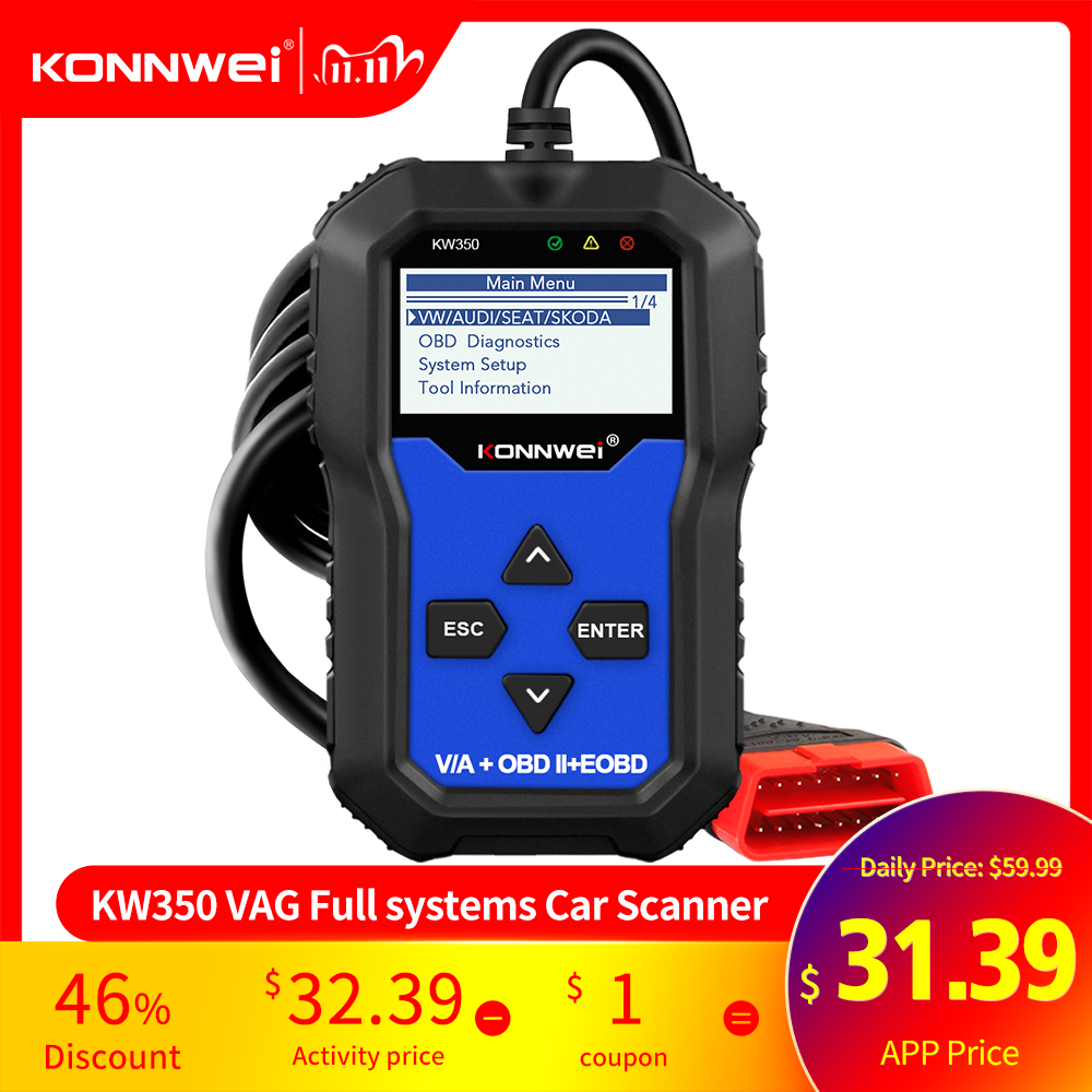 KONNWEI KW350 OBD2 Diagnostic Scanner for Car VAG VW Audi ABS Airbag Reset Oil Service Light EPB Diagnostic Tool Better VAG COM