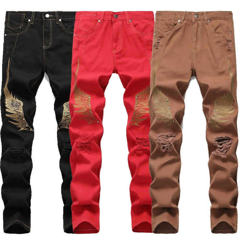 Embroidery Wings Design Skinny Slim Fit Jeans Men American And European Style Fashion Men Pants Cotton BlackTrousers Homme Plus